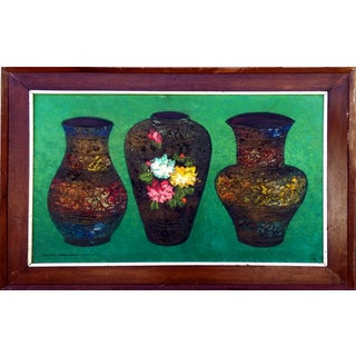 Three Vases Impasto Still Life by Lacambra
