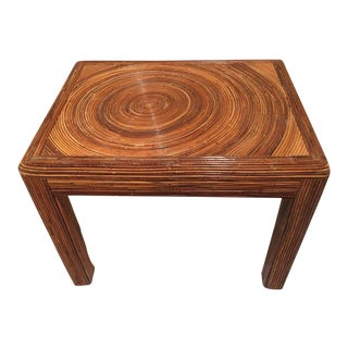 Pencil Reed Rattan Side End Table