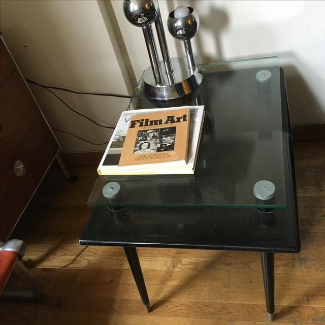 Mid-Century Modern Black Wood & Glass Side Table - Image 4 of 10