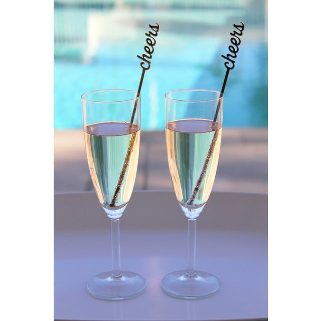 Image of Black & Silver Glitter Cheers Drink Stirrers - S/6