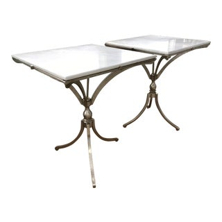 Art Deco Marble & Stainless Steel Side Tables - A Pair