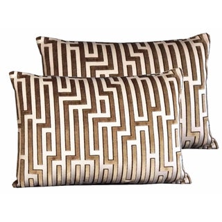 Kravet Couture Raised Velvet Pillows - Pair