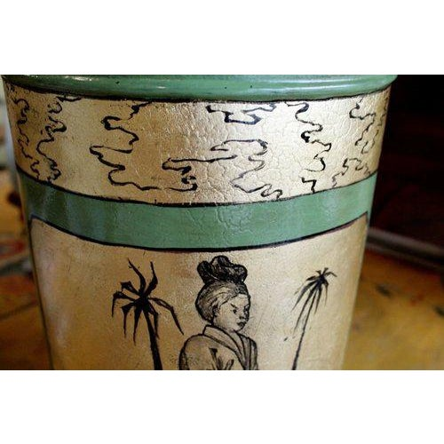 Green & Gilt Decorated Tôle Tea Canister Lamps - A Pair - Image 4 of 8