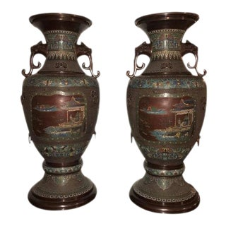 1930s Chinoiserie Lion Handled Vases or Urns - A Pair
