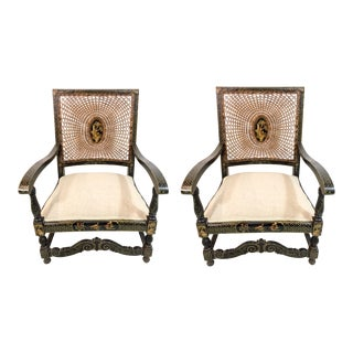 Antique Chinoiserie Arm Chairs - a Pair