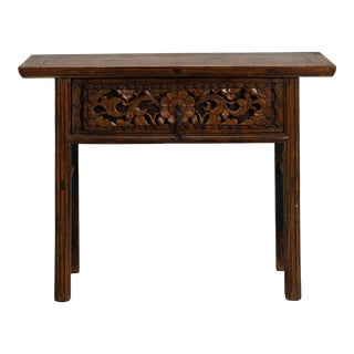 Chinese Painted Altar Table with Carved Drawer