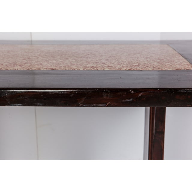 Image of French Wooden Table With Marble Inlay