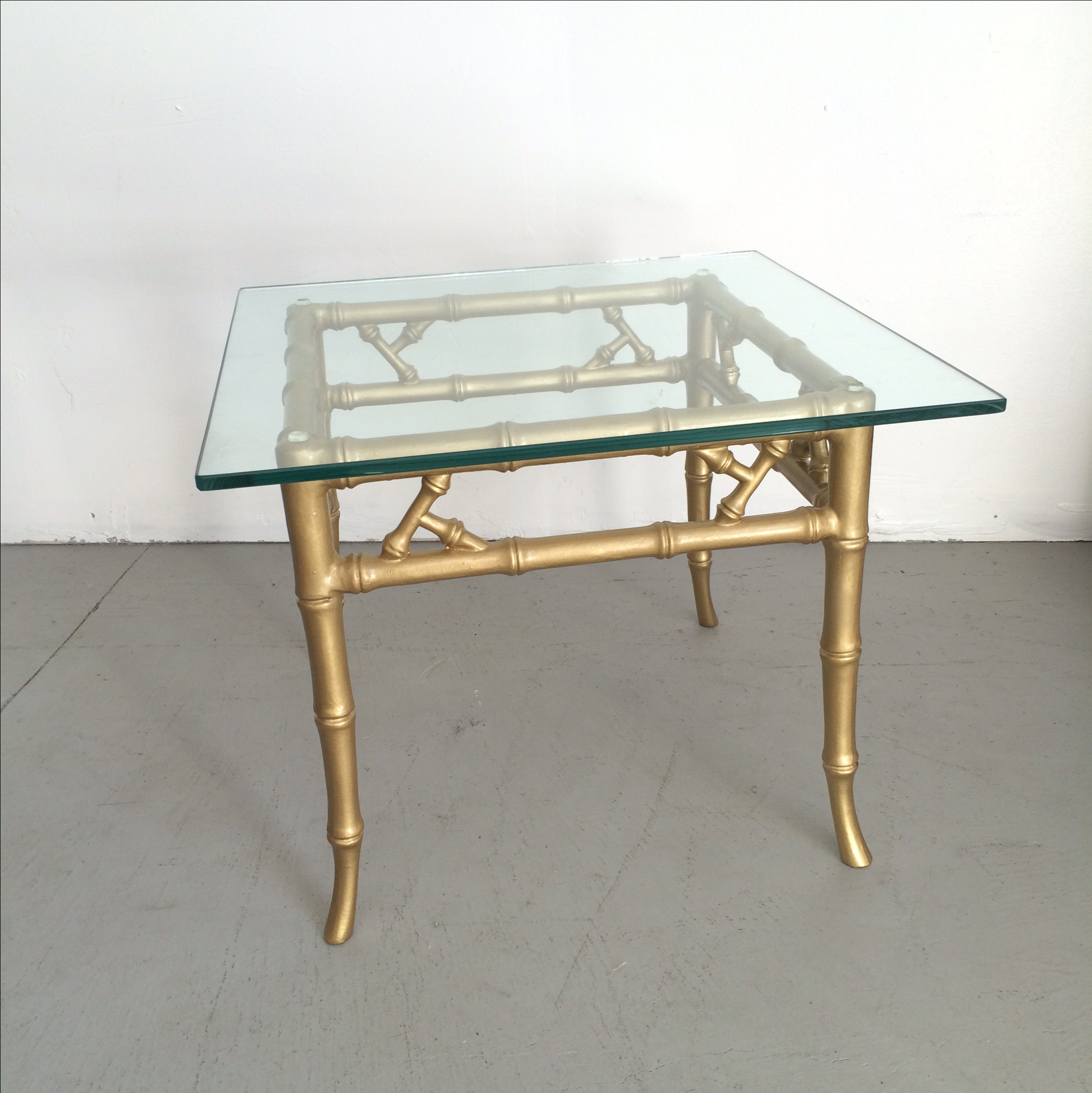 Gilded Metal Faux Bamboo Accent Table   Image 8 Of 11