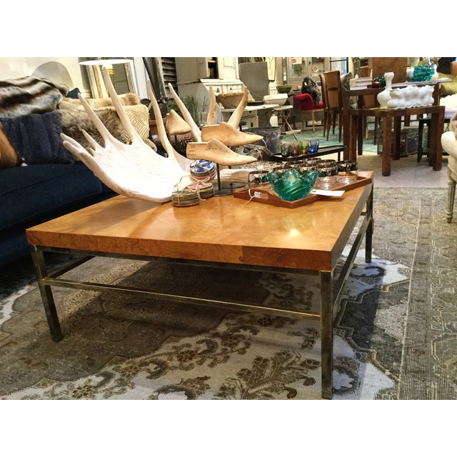 Image Of Vintage Parquet Coffee Table With Brass Base