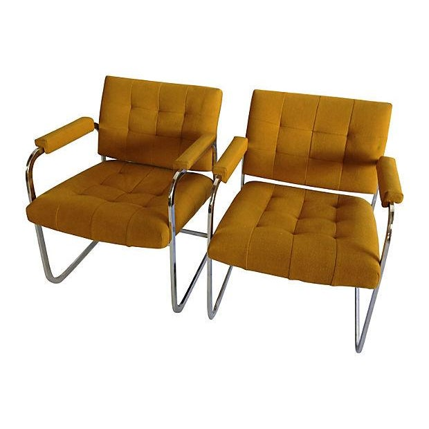 Image of Vintage 1970s Flat Chrome Lounge Chairs - A Pair