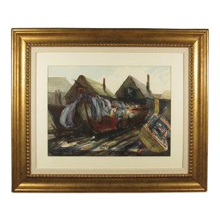 "Original ""Boat Builders"" Watercolor Painting by Alan Halliday"