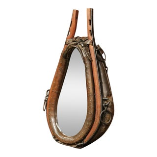 19th Century French Leather Horse Collar Made Into Mirror