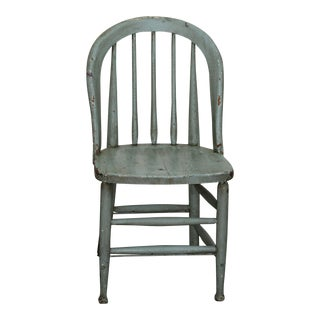 Antique Primitive Blue Spindle Back Chair