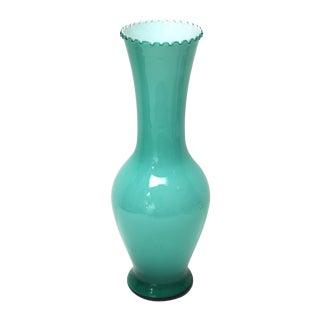 Teal Green Empoli Cased Glass Vase