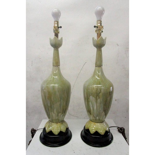 Green Ceramic Lamps With Flower Motif - Pair - Image 5 of 10