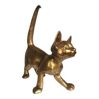 Vintage Gold Cat Figure