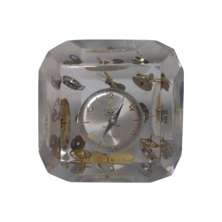 Lucite Paperweight with Encased Watch Parts