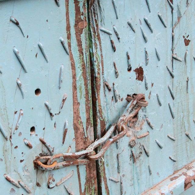 Teak & Iron Turquoise Doors - a Pair - Image 5 of 7