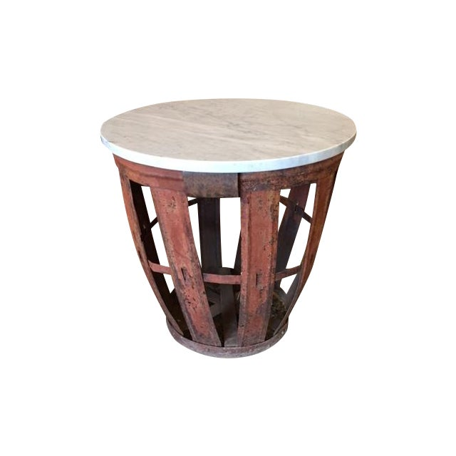 Vintage Bottle Basket With Marble Top Table - Image 1 of 4