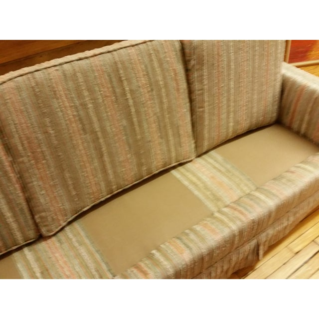 Mid-Century Pastel Stripes Tufted Sofa - Image 4 of 8