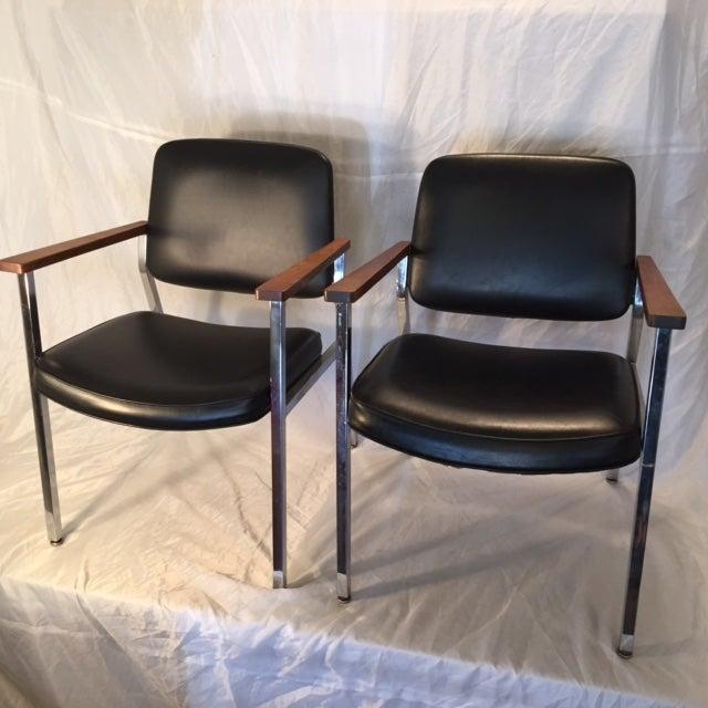 Mid-Century Chrome & Walnut Armchairs - A Pair - Image 4 of 7