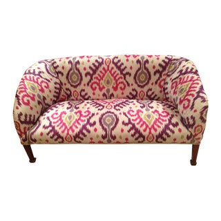 Antique Sofa With Ikat Upholstery