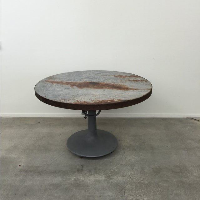 Industrial Crank Table With Zinc Top - Image 2 of 8