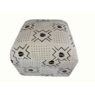 White & Black Mud Cloth Ottoman