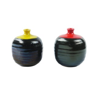 Red & Yellow Ceramic Weed Pots - A Pair
