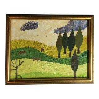 Mid-Century Style Landscape Oil Painting