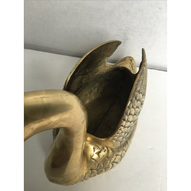 Large Vintage Brass Swan Planter - Image 7 of 8