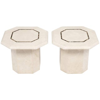 Vintage French Travertine Side Tables- A Pair