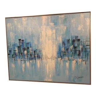 Mid-Century Modern City Oil Painting
