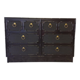 Omega Furniture Black Lacquer Faux Bamboo Dresser