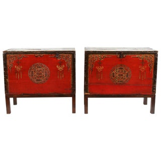 Pair of Painted Mongolian Trunks