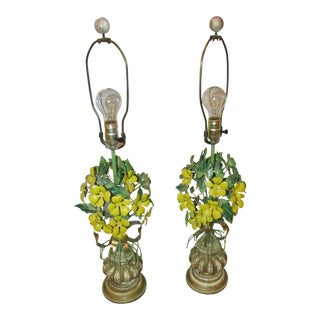 Italian Tole Yellow Flower Lamps - A Pair