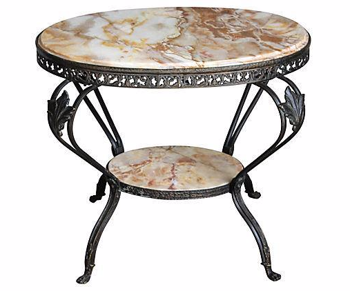 Antique French Bronze U0026 Marble 2 Tier Accent Table   Image 1 ...