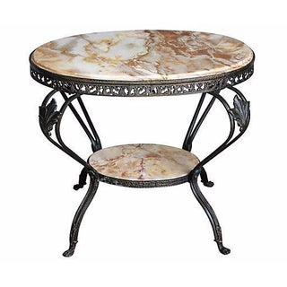 Antique French Bronze & Marble 2 Tier Accent Table
