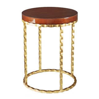 Selamat Designs Brass & Mahogany Side Table