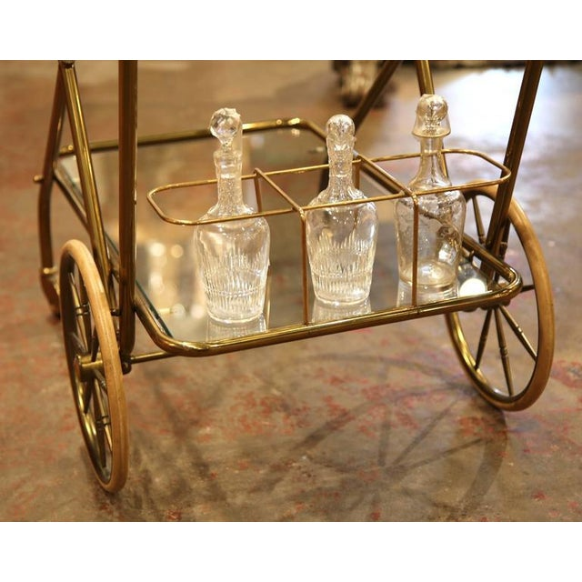 Mid-20th Century French Brass Cart With Removable Upper Tray - Image 9 of 10