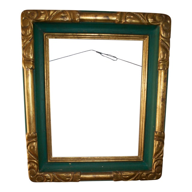 Image of Vintage Hand Made Carved and Painted Wooden Frame