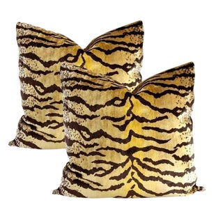 Lee Jofa Velvet Tiger Pillows - A Pair
