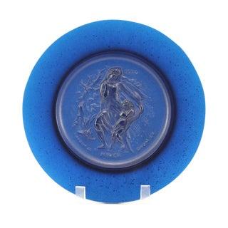 C. 1970 Daum Pate De Verre Hiver Aquamarine Plate