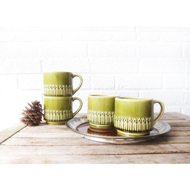Green Drip Glaze Mugs & Tray - Set of 4 - Image 2 of 6