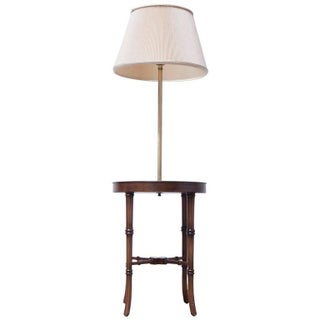 Faux Bamboo Floor Lamp With Etched Brass Table
