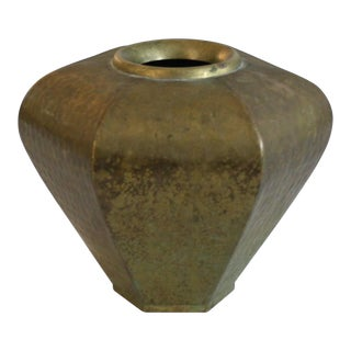 Vintage Hammered Hexagonal Brass Vase