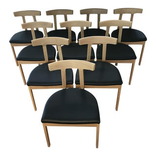 Bensen Oak & Leather Dining Chairs - Set of 8