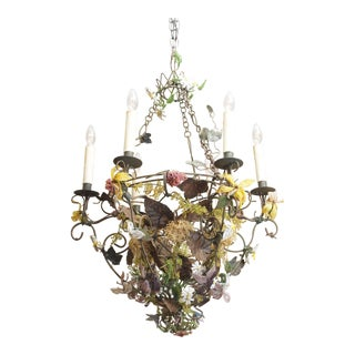 Iron Wire and Beaded Chandelier