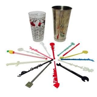 Cocktail Recipe Shaker & 15 Swizzle Sticks