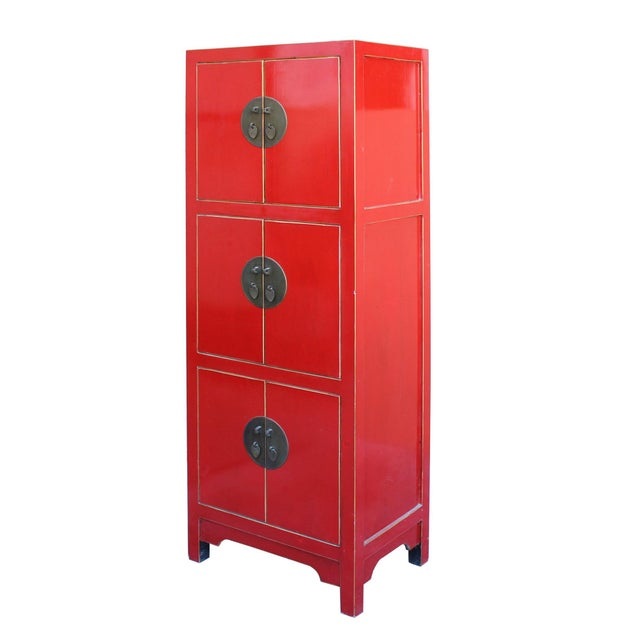 Chinese Red Lacquer Narrow Mid Size 3 Shelves Storage Cabinet - Image 3 of 5